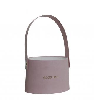 Сумочка для цветов 140*180*140 мм, розовая (с тиснением) дизайн 30