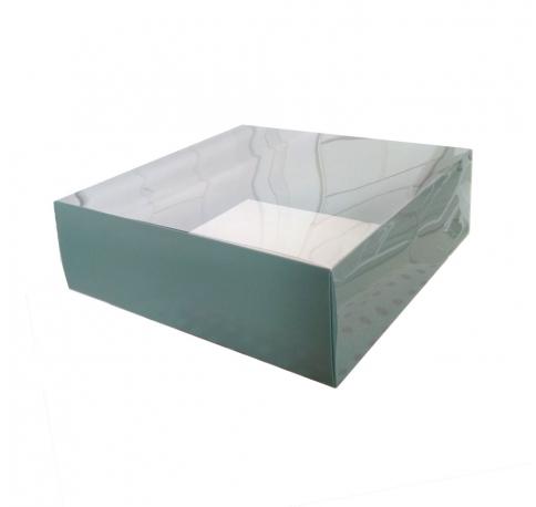 Коробка подарочная 250*250*80,с прозрачной крышкой и зеленым дном