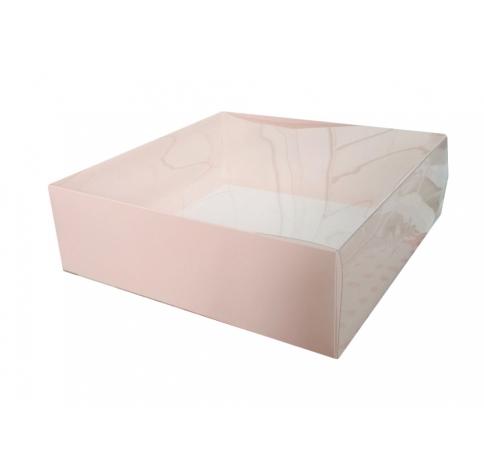 Коробка подарочная 250*250*80,с прозрачной крышкой и нюдовым дном