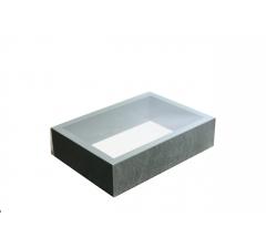 Коробка 270*190*65 мм с прозрачной крышкой, темно-зеленое дно
