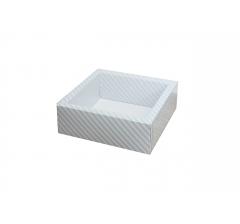 Коробка 190*190*65 мм с прозрачной крышкой, голубая полоска