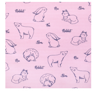 Бумага гофрированная 50 см/10 м, лисы на розовом