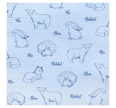 Бумага гофрированная 50 см/10 м, лисы на голубом
