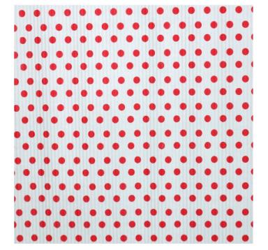 Бумага гофрированная 50 см/10 м, красные точки на белом