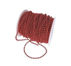 Бусины в рулоне 4мм/40м, красные металлик