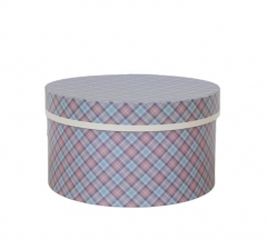 Коробка для цветов цилиндр, d-200, h-110, бордово-голубая клетка
