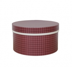 Коробка для цветов цилиндр, d-200, h-110, бордовая в черно-белую клетку