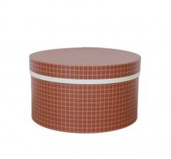 Коробка для цветов цилиндр, d-200, h-110, темно-оранжевая в клетку