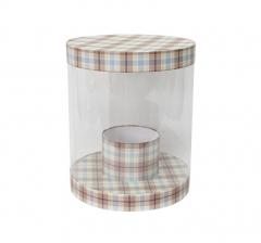Коробка для цветов цилиндр, d-255, h-310, сливочно-коричневая клетка