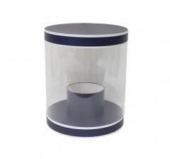 Коробка для цветов цилиндр, d-255, h-310, насыщенно-синяя с белым кантом