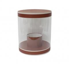 Коробка для цветов цилиндр, d-255, h-310, темно-оранжевая с белым кантом