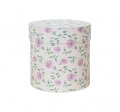 Коробка для цветов цилиндр, d-150, h-150, молочная с цветами
