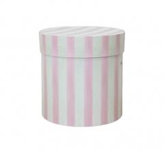 Коробка для цветов цилиндр, d-150, h-150, в розово-салатовую полоску