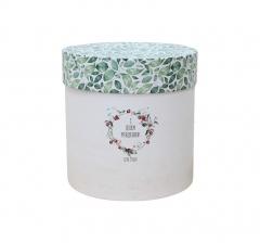 """Коробка для цветов цилиндр, d-150, h-150, бежевая """"с днем рождения"""""""