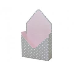 Коробка 170*140*60 мм, серый в горох с розовым