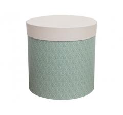 Коробка для цветов цилиндр,зеленая со светлой крышкой, d-150, h-150