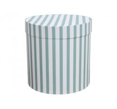 Коробка для цветов цилиндр, мятно-голубая крупная полоска, d-150, h-150