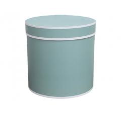 Коробка для цветов цилиндр,в мятно-голубая с белым кантом, d-150, h-150