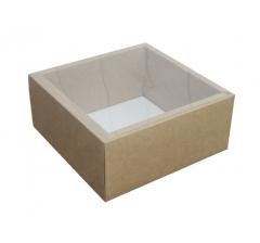Коробка 230*230*100 мм с прозрачной крышкой, крафт дно