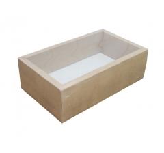 Коробка 320*180*110 мм с прозрачной крышкой, крафт дно