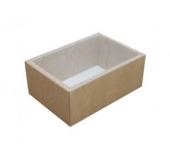 Коробка 200*140*80 мм с прозрачной крышкой, крафт дно