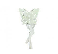 Бабочка на палочке белая, арт. DT92W ( мин. заказ 12 шт. )
