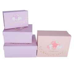 Комплект из 3 коробок подарочных лавандовый  h 13cm l 29cm d 22cm