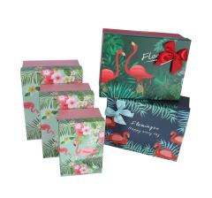 Комплект из 3-х коробок ярко зеленый  h 13cm l 29cm d 22cm фламинго