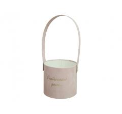 Коробка бархатная с ручкой, d-120, h-110, розовая с золотой надписью