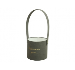 Коробка бархатная с ручкой, d-120, h-110, серая с серебристой надписью