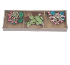 Комплект из 6 кактусов деревянных на  липучке l 5cm d3cm 9DY5275