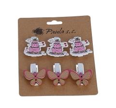 Комплект из 6 бабочек и тортов деревянных на прищепке l 3,5cm