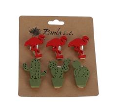 Комплект из 6 фламинго и кактусов деревянных на прищепке l 3,5cm 9DY5500