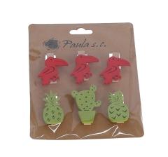Комплект из 6 пеликанов и кактусов деревянных на прищепке l3,5cm d2cm 9DY5502