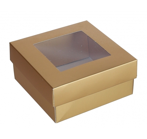 Коробка подарочная, золотая h 6cm l 13cm d13cm