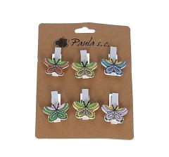 Комплект из 6 бабочек деревянных на прищепке l3,5cm d 3cm  D7J0041