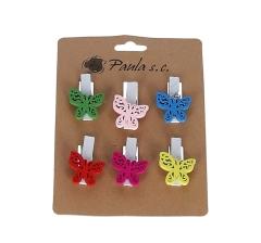 Комплект из 6 бабочек деревянных на прищепке D7J0044