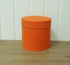 Коробка бархатная, оранжевая, d-150, h-150