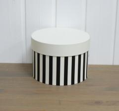 Коробка для цветов цилиндр,черно-белая полоска со светлой крышкой,  d-150, h-105