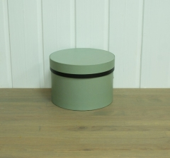 Коробка для цветов цилиндр,серо-зеленая с полосой,  d-150, h-105