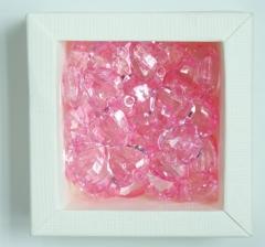 Бусины розовые сердца , 1 пакетик ( 50 г. )