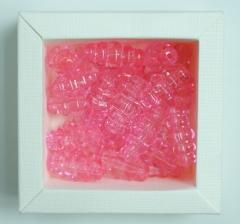 Бусины прозрачно-розовые рифленые, 1 пакетик ( 50 г. )