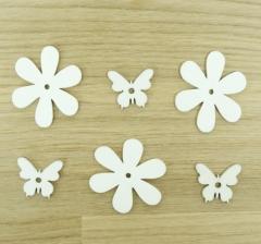 Набор из цветков и бабочек белых деревянных (50 шт.)