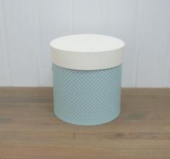 Коробка для цветов цилиндр, голубая в горошек, d-150, h-150