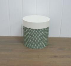 Коробка для цветов цилиндр, оливковая в горошек, d-150, h-150