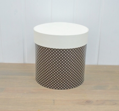 Коробка для цветов цилиндр, коричневая в горошек, d-150, h-150