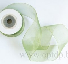 Лента из органзы 40мм/10м оливковая
