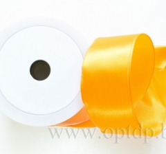 Лента атласная с проволокой 40мм/10м светло-оранжевая