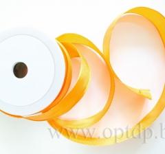 Лента атласная с проволокой 25мм/20м светло-оранжевая