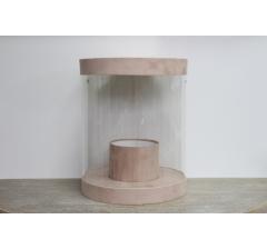 Коробка для цветов цилиндр, d-255, h-310, бежевый бархат люкс